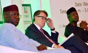 Vice President-Elect, Prof. Yemi Osinbanjo, Representative of Former  Britain Prime Minister, Mr. Tony Blair, Mr. Lord Mandelson and Director, Policy Research and Strategy Directorate of All Progressives Congress (APC), Dr. Kayode Fayemi, during the opening ceremony of 2 day policy dialogue on the implementation of the agenda for Change, at Transcorp Hilton Hotel Abuja. Photo by Gbemiga Olamikan.