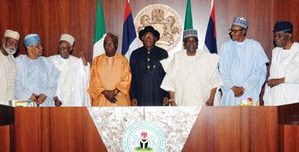 . FROM LEFT: FORMER HEAD OF STATE, GEN. ABDULSALAMI ABUBAKAR; FORMER  MILITARY PRESIDENT IBRAHIM BABANGIDA; FORMER PRESIDENT, ALHAJI SHEHU SHAGARI;  FORMER PRESIDENT OLUSEGUN OBASANJO; PRESIDENT GOODLUCK JONATHAN; FORMER HEAD OF  STATE, GEN. YAKUBU GOWON; FORMER HEAD OF STATE AND PRESIDENT-ELECT, GEN.  MUHAMMADU BUHARI AND FORMER HEAD OF INTERIM NATIONAL GOVERNMENT, CHIEF ERNEST  SHONEKAN, AFTER THE NATIONAL COUNCIL OF STATE MEETING IN ABUJA ON TUESDAY