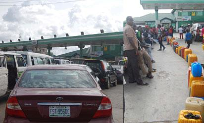 Fuel Scarcity persist up till Thursday in Lagos Px shows Vehicles and Jerrycans on queue at Petroleum Managers Filling Station along the Apapa Oshodi Expressway in Lagos    Px  Joe Akintola (Photo Editor)