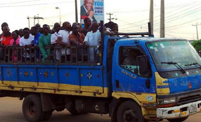 Stranded commuters' option B in Lagos, also yesterday. Photo: NAN