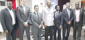 L-R: General Manager, EMC West Africa, Mr. Nicholas Travers; Managing Director, EMC, Levant and Emerging Africa Region, Mr. Nazim Fraijat; Chairman, Zinox Group, Mr. Leo Stan Ekeh; Executive Director, Technology Distributions, Mr. Etiene Etukudoh and Distribution Manager, EMC Emerging Africa Region, Mr. Ashraf Helmy at the official launch of the partnership between EMC and TD in Lagos.