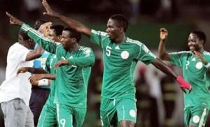 ready to go ... Flying Eagles players celebrate in one of their matches at the last African Youth Championship. Flying Eagles are set to take on the World at the FIFA U-20 Championship in New Zealand.