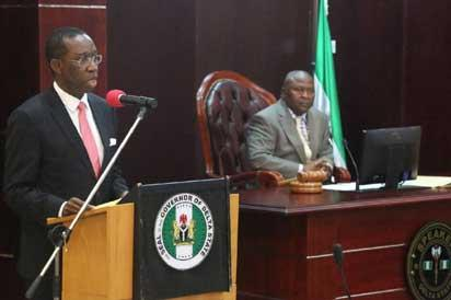 •Governor Ifeanyi Okowa (right) and Monday Igbuya, Speaker, Delta House of Assembly