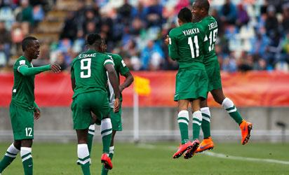FILE: NEW PLYMOUTH, NEW ZEALAND - JUNE 01: Musa Yahaya #11 of Nigeria celebrates with team mates after he scores his teams second goal during the FIFA U-20 World Cup New Zealand 2015 Group E match between Nigeria and Brazil held at Stadium Taranaki on June 1, 2015 in New Plymouth, New Zealand.  FIFA
