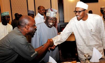 FROM LEFT: FORMER GOVERNOR OF RIVERS STATE / APC CAMPAIGN DIRECTOR-GENERAL, CHIBUIKE AMAECHI; APC LEADER, ASIWAJU BOLA TINUBU AND PRESIDENT MUHAMMADU BUHARI DURING BREAKING OF FAST AT THE PRESIDENTIAL VILLA ABUJA ON TUESDAY (14/7/15) 025/JULY2015/ICE/STATE-HOUSE