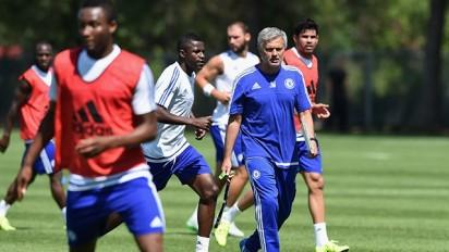 Mikel trains with the team in Canada
