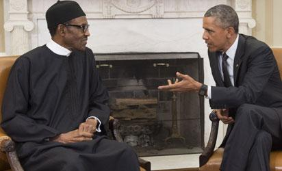 File: US President Barack Obama speaks with Nigerian President Muhammadu Buhari during a meeting in the Oval Office of the White House in Washington, DC, July 20, 2015. Obama welcomes Nigeria's freshly elected president after the country's first ever democratic transition. AFP