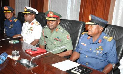FROM LEFT: CHIEF OF AIR STAFF, AIR-VICE MARSHAL SADIQUE ABUBAKAR; CHIEF OF NAVAL STAFF, REAR ADMIRAL IBOK-ETE EKWE IBA; CHIEF OF ARMY STAFF, MAJ.-GEN ABAYOMI OLONISAKIN AND CHIEF OF DEFENCE INTELLIGENCE, AIR VICE MARSHAL MORGAN RIKU DURING THEIR MEETING WITH PRESIDENT MUHAMMADU BUHARI AT THE PRESIDENTIAL VILLA ABUJA IN ABUJA ON MONDAY (13/7/15)