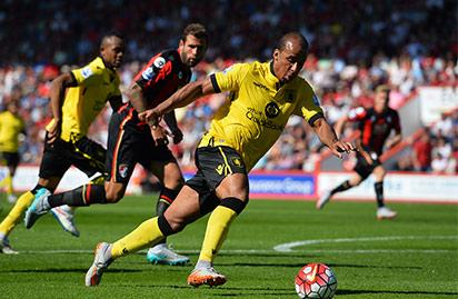 File: Aston Villa's striker Gabriel Agbonlahor runs with the ball during the English Premier League football match between Bournemouth and Aston Villa at the Vitality Stadium in Bournemouth, southern England on August 8, 2015. Aston Villa won the game 1-0. AFP PHOTO / GLYN KIRK