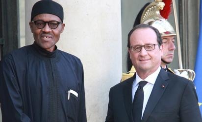 President Muhammadu Buhari and his host, President Francois Hollande during an official engagement at the Elysee Palace as part of activities of the President during the official visit to Paris, France. Photo by Abayomi Adeshida