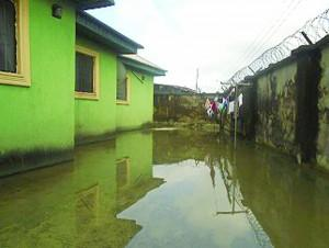 Inside a flooded compound