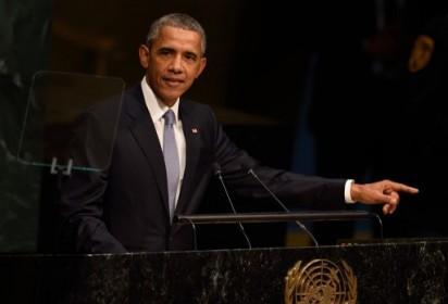US President Barack Obama speaks at the 70th session of the United Nations General Assembly September 28, 2015 at the United Nations in New York. AFP PHOTO/DON EMMERT