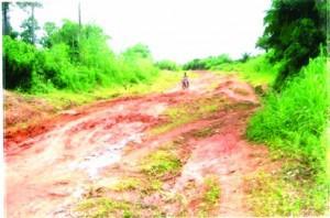 Ramshackle road to Bayop