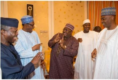 Maiden meeting between President Muhammadu Buhari and leaders of both chambers of the National Assembly, held at the First Lady's Conference Room, in the Presidential Villa, on Wednesday night, October 8, 2015.