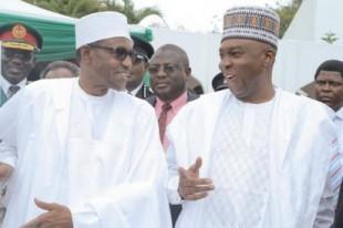Muhammadu Buhari and Bukola Saraki at 55th Independence Day ceremony at the Aso Rock Presidential Villa.