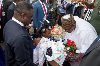 President Muhammadu Buhari being welcomed by Governor of Crossriver state Prof. Ben Ayade at the Margaret Ekpo Airport Calabar as President Buhari attends Ground Breaking Ceremony of 260Km Super Highway Double Carrier Road from Calabar to Northern Nigeria on 20th Oct 2015.