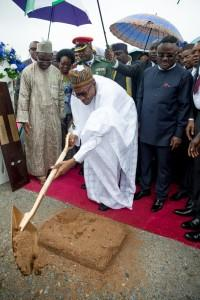 President Buhari performing the ground breaking ceremony of the Project during the Ground Breaking Ceremony of 260Km Super Highway Double Carrier Road from Calabar to Northern Nigeria on 20th Oct 2015.