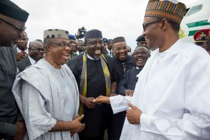 President Muhammadu Buhari being received by R-L: Governor of Calabar Prof. Ben Ayade, Governor of Akwa Ibom state Emmanuel Udoma, Governor of Imo State Rochas Okorocha, Deputy Governor of Cross-River state Prof. Evara Esu Are and Immediate past Governor of Crossriver state Liyel Imoke as President Buhari attends Ground Breaking Ceremony of 260Km Super Highway Double Carrier Road from Calabar to Northern Nigeria on 20th Oct 2015.
