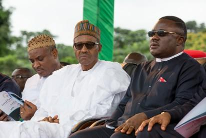 President Muhammadu Buhari is joined by Governor of Calabar Prof. Ben Ayade and an APC Chieftain Chief Obono Obla during the Ground Breaking Ceremony of 260Km Super Highway Double Carrier Road from Calabar to Northern Nigeria on 20th Oct 2015.