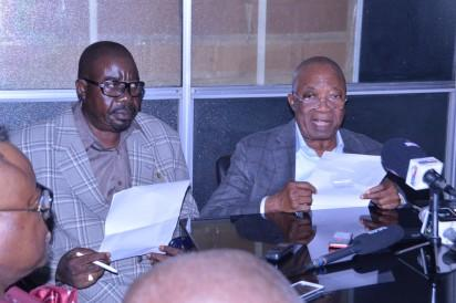 Chairman, Kessington Adebukunola Adebutu Foundation (KAAF), Sir (Dr.) Kessington Adebukunola Adebutu (right) and Media Consultant of KAAF, Dr. Yemi Ajayi, at the press conference on Sir (Dr.) Kessington's 80th birthday and celebration of the 10th  anniversary of KAAF in Lagos Photo: Abiodun Alade