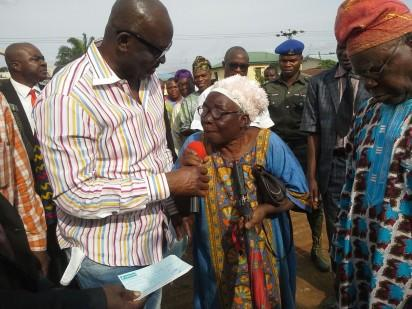 Governor Ayodele Fayose during the payment of compensation to property owners whose properties will give way for the dualisation of the Ikere-Ekiti Road.