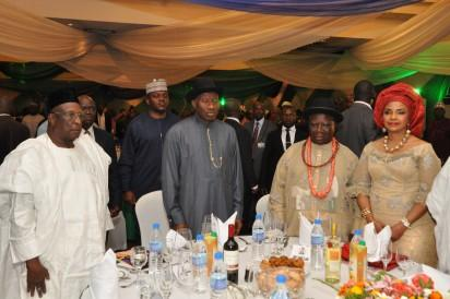 File Photo: L-R PDP Chariman , Alhaji Bamanga Tukur, President Goodluck Jonathan GCFR,(center) Chief Edwin Clark, and his Wife during the formal Launch of the Edwin Kiagbodo Clark Foundation and University of Technology, in Abuja.