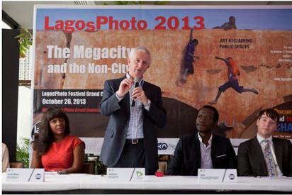 File Photo: L-R Wunika Mukan_ LagosPhoto Foundation Brand Director, Steve Evans_ CEO Etisalat Nigeria, Azu Nwagbogu_ Director LagosPhoto Foundation, Joseph Gergel_ Curator LPF at the LP 2013 Press Conference -