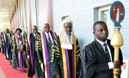 BODY OF BENCHERS AT THE CALL TO THE BAR CEREMONY OF SUCCESSFUL CANDIDATES IN ABUJA .