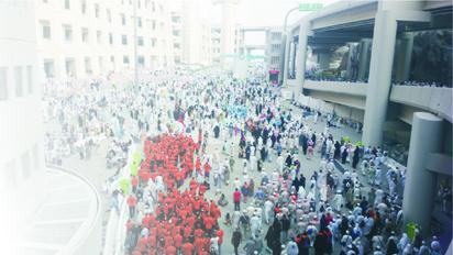 ilgrims leaving the Haram after the Jumaat prayer in Mecca. Photo Lamidi bamidele