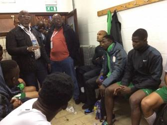 Pinnick addressing Super Eagles players