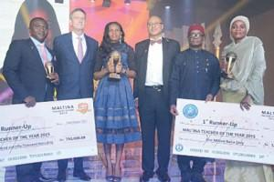 Mr. Daniel Sunday Udiong, Second Runner-up, Maltina Teacher-of-the-Year Award; Mr. Nicolaas Vervelde, Managing Director, Nigerian Breweries Plc; Nkemdili Obi, Winner, Maltina Teacher-of-the-Year Award; Prof. Pat Utomi; one of the judges and Mrs Binta Mohammed Lawan of Federal Government College Maiduguri, Borno State, First Runner-Up, Maltina, Teacher-of-the-Year Award.