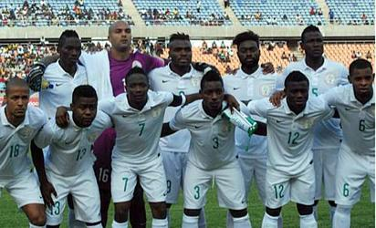 WINNERS. . . Super Eagles squad before the friendly match against the Indomitable Lions of Cameroun in Belgium.