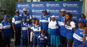 """PRESENTATION : From left-ý Lekan Adekoya (with crutches); Ayoifeoluwa Ayodele ; Isaac Joseph-Osumah; Wife of Lagos state Governor, Mrs Bolanle Ambode ; Semilore Kosoko ; Basirat Adam; CEO, Stanbic IBTC Group , Mrs. Shola David-Borha and Executive Director, Irede Foundation, Chrystal Chigbu, during the """"Out For A Living """" initiative  of Stanbic IBTC Group held in Lagos over the weekend."""