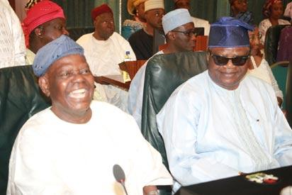 Former National Chairman Action Congress of Nigeria, Chief Bisi Akande (l) and his counterpart in the Congress for Progressive Change, Prince Tony Momoh (r) during the swear-in ceremony of the newly composed Federal Executive Council at the Aso Chambers, Presidential Villa, Abuja. Photo by Abayomi Adeshida 11/11/2015