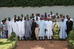 President Muhammadu Buhari flanked by Vice President Yemi Osinbajo and the National Chairman, Independent National Electoral Commission, Prof. Mahmud Yakoob (4r) while the Senate President, Senator Bukola Saraki (l); Speaker House of Representatives, Hon. Yakubu Dogara (4l) and others watched in a group photograph shortly after the swear-in ceremony of the INEC Chairman and five National Commissioners at the Aso Chambers, State House, Abuja. Photo by Abayomi Adeshida 09/11/2015