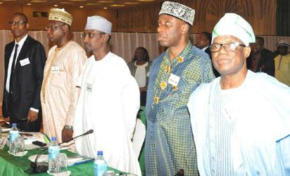 CROSS SECTION OF MINISTERS-DESIGNATE AT  THE PRESIDENTIAL RETREAT FOR MINISTERIAL- DESIGNATES AT THE PRESIDENTIAL VILLA IN ABUJA ON THURSDAY (05/11/15)