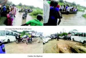 Crossing East-West Road with canoe & Calabar-Itu Highway