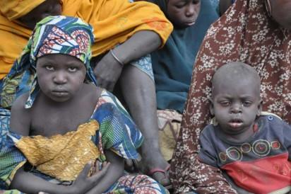 Bama IDP Camp: Children at Bama IDP Camp in Maiduguri  during Minister's Tour of Bama . Photo by Gbemiga Olamikan.