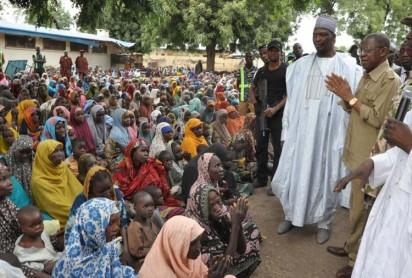 Bama IDP Camp: Minister of Information and Culture , Alh. Lai Mohammed addressing Victims of Boko Haram at Bama IDP Camp in Maiduguri while Boron State  Deputy Governor , Usman  Mamman Dwikwa and others look on  during Minister's Tour of Bama . Photo by Gbemiga Olamikan.
