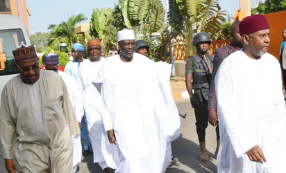 ARMS PROBE—From right: Former National Security Adviser, NSA, to former President Goodluck Jonathan, Col. Sambo Dasuki (retd); former Sokoto State Governor, Alhaji Attahiru Bafarawa; former Director of Finance, Office of the NSA, Mr. Salisu Shuaibu; former Director at Nigeria National Petroleum Corporation, NNPC, Aminu Baba Kusa and former Minister of State for Finance, Ambassador Bashir Yuguda, after their arraignment at an Abuja High Court by the Economc and Financial Crimes Commission, EFCC, yesterday. Photo: Gbemiga Olamikan.