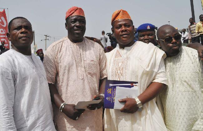 From left: Abay Lanre, Taiwo Hassan, Yinka Quadri and Muka Ray-Eyiwumi, bot Nollywood Actor, during the Installation ceremony of Oba Adeyeye Enitan Babatunde Ogunwusi, Ojaja II as the 51st Ooni of Ife at Enuwa