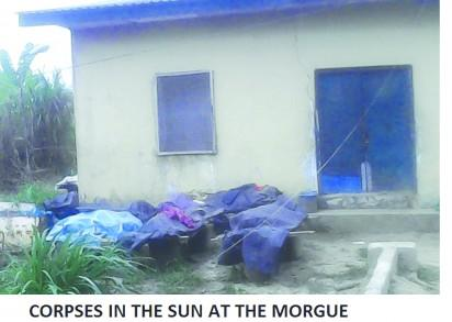 Corpses stacked outside the morgue