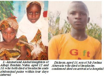 L- Aminat and Aishat daughters of Alhaji Ibrahim Nuhu, aged 12 and 10, who both died of headache ands abdominal pains within four days interval  & Dickson, aged 15, son of Mr Joshua Abuwata who died of headache, confirmed died on arrival at a hospital