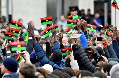 Members of the Indigenous People of Biafra, IPOB, at St Peter's Square Rome, during their visit to Pope Francis at theVatican.