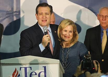 DES MOINES, IA - FEBRUARY 01: Republican presidential candidate Sen. Ted Cruz (R-TX) stands with his wife Heidi as he addresses supporters after winning at the caucus night gathering at the Iowa State Fairgrounds on February 1, 2016 in Des Moines, Iowa. Cruz beat out frontrunner Donald Trump and Marco Rubio (R-FL) to win the Iowa caucuses.   Christopher Furlong/Getty Images/AFP