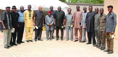 From left, Harrison Okagbue, Arthur Egbunam, Sylvanus Okpala, Francis Nwosu(German War), Stanley Okoronkwo, Little Ben Anibueze, Ikenna Obu, Christian Chukwu, Dr. Johny Egbonu, Mike Ogbuodudu. Fancy Ewulu is 3rd from right.