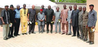 From left, Harrison Okagbue, Arthur Egbunam, Sylvanus Okpala, Francis Nwosu(German War), Stanley Okoronkwo, Little Ben Anibueze, Ikenna Obu, Christian Chukwu, Dr. Johny Egbonu, Mike Ogbuodudu. Fancy Ewulu is 3rd from right.