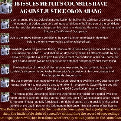 16 ISSUES METUH'S COUNSELS HAVE AGAINST JUSTICE OKON ABANG
