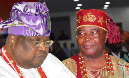 Awujale and Paramount Ruler of Ijebuland, Oba Sikiru Kayode Adetona,  and Alake of Egbaland, Oba Adedotun Aremu Gbadebo