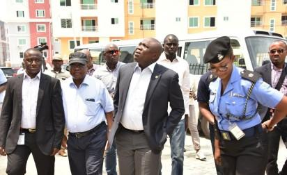 L-R: Lagos State Governor, Mr. Akinwunmi Ambode (2nd left); Divisional Police Officer, Ilasan Police Station, Mrs. Onyinye Onwuanaegbu; Commissioner for Physical Planning & Urban Development, Engr. Wasiu Anifowose and Commissioner for Works & Infrastructure, Engr. Ganiyu Johnson during the Governor's inspection of the site of the collapsed building in Lekki Gardens at Ikusenla Road, Ikate Elegushi, Lagos, on Tuesday